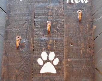 Wood His & Hers Coat and Dog Leash Hanger with 3 Hooks