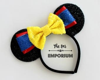 Snow White Inspired Mouse Ears Headband ~ Blue, Red and Yellow Sparkles