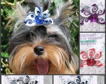 Set 4 pcs Dog bow Dog hair bow dog grooming bow puppy hair bow puppy grooming puppy girl hair bow yorkie gift idea designer dog hair bow