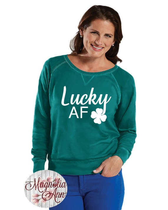 Lucky AF Four Leaf Clover Sweatshirt, Sizes Small-4X, Plus Size Sweatshirt, St Patrick's Day Shirt, St Patrick's Day Sweatshirt, Pinch Proof