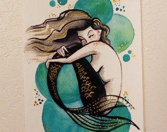 Hand embellished print // Mermaid Bubbles {Green}