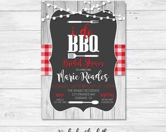 BBQ Bridal Shower Invitation, I do bbq Invitation, Rustic Invitation *DIGITAL FILE*