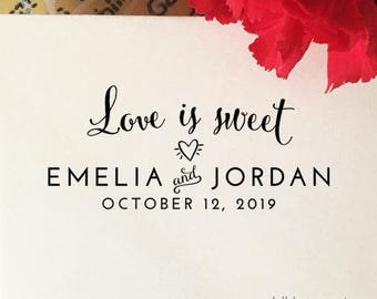 Love is Sweet Wedding Stamp, Personalized Stamp with Names and Date, Self Inking Stamp, Wood Stamp, Custom Wedding Stamp, Stamp with Handle
