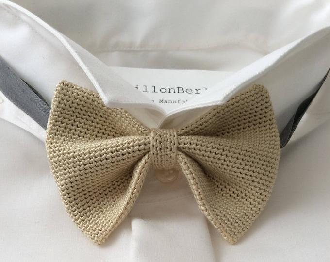 Knit tie, 100% silk, champagne/beige