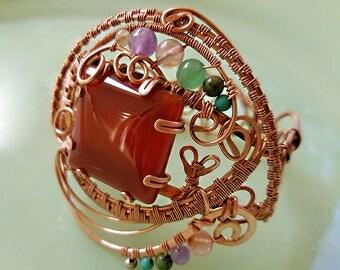 Copper, Carnelian, Amethyst, Fluorite, Aventurine, Turquoise, Wire weave Bracelet