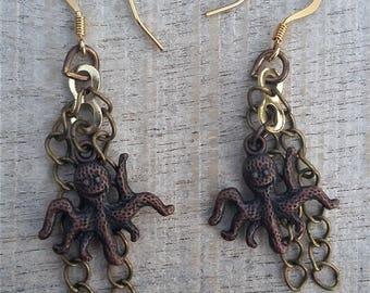 Bronze Octopus Earrings