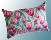 Image of Pink Tulips Accent Pillow Pink and Mint Green Tulips Throw Pillow Tulip Settee Cushion in Candy Colours Decorative Cushion