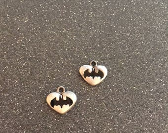 Batman logo heart charm, set of 2