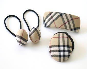Checkered Fabric Hair Elastic, Hair Barrettes, Hair Elastic for Girls, Hair Accessories for Women