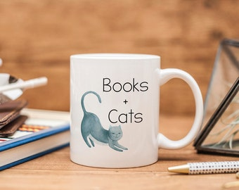 Books and Cats Ceramic Mug - Bookish Gift - Book Lover Gift - Book Mug