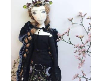 BEA Collectible Handmade Fabric Art Doll OOAK Textile Soft Sculpture