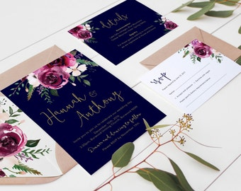 Marsala and Navy Wedding Invitation / Printable Wedding Invitation Set / Bohemian Wedding Invitations / Rustic Floral Wedding Invites