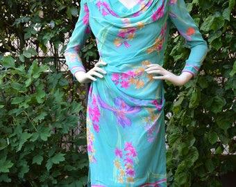 LEONARD 1970 Flowery Pattern Silk Chiffon Drape Dress