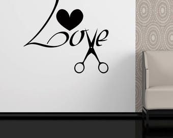 Love To Cut Hair salon wall art vinyl decal sticker home bedroom beauty shop