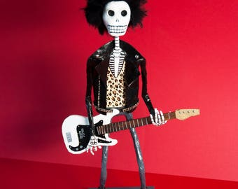 Sid Vicious, Catrina, Day of the dead, sculpture, skeleton, hand made, paper mache, figure, mexican art, Skull, fan art