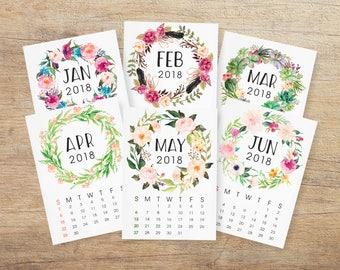 2018 Printable Calendar, Floral Wreath Calendar 2018, Monthly Desktop Calendar, Office Christmas Gift, Leaflet Pages 5x7 INSTANT DOWNLOAD