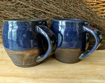 Blue Stoneware Mug, Ceramic Mug, Farmhouse Coffee Mug, Handmade Mug Rustic Pottery Mug Blue Gloss Mug - Each Sold Separately