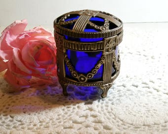 Vintage BLUE GLASS JAR Cobalt Glass Art Deco Vanity Jar Paris Apartment French Cottage Sabby Chic Unique Gift Mothers Day