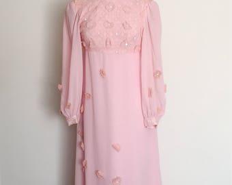 1960s Pastel Pink Evening Gown Vintage