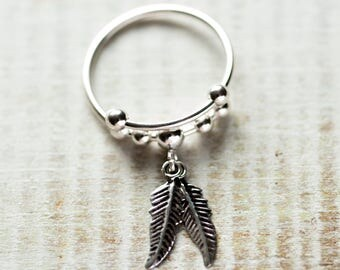 Feather Ring, Boho Silver Ring, Sterling Silver Ring, Stacking Ring
