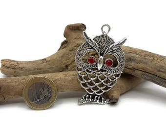 OWL pendant silver metal and rhinestones-red A041