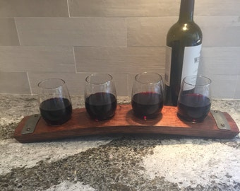 Wine Flight Tray Made From Reclaimed Wine Barrel Stave - Includes 4 Wine Glasses