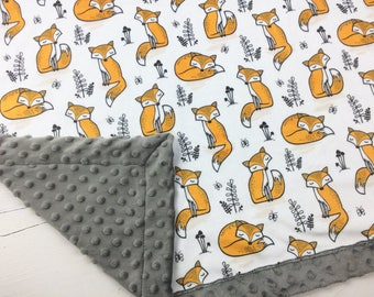 Baby minky blanket, fox blanket, woodland blanket, cuddle blanket, baby shower gift, birth gift, adult size