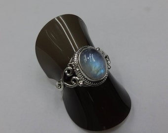 Classic 925 Sterling Silver Moonstone Ring,Size US-7.5
