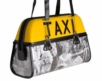 Taxi top light handbag - FREE SHIPPING, Upcycled Handbag, Women's Handbag Upcycled  bag Cab top light box by Naveh Milo, upcycling by milo