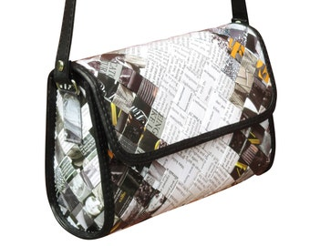 Medium crossbody made from magazine paper, FREE SHIPPING, Upcycled bag, crossbody purse, boho bag, shoulder bag, recycled paper, vegan gift