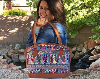 Mexican leather handbag made in Chiapas Mexico Embroidery bag Suede leather bag