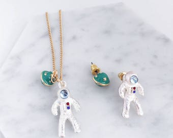 Astronaut Necklace; space necklace; Fly me to space; Astronaut earrings