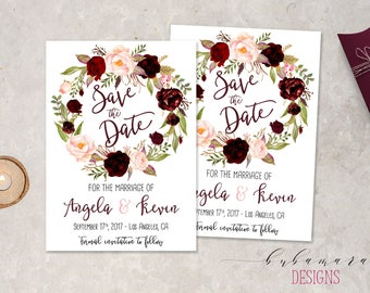 Marsala Floral Wreath Save the Date Invitation Boho Burgundy Pink Peonies Save the Date Fall Wedding Invite Summer Spring Invite - WS044