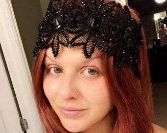 Gothic headpiece Witch crown black crown fascinator Black Crown Evil queen crown  Gift Black tiara Cosplay crown Black Lace Crown Headband