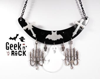 Bat Halloween ghost Boo bib necklace mouse, chandelier black Gothic black rhinestone cross