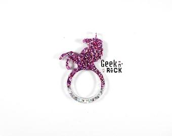 SALE 50% Unicorn resin ring glitter Unicorn glitter resin ring