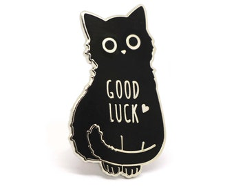 Cat enamel pin, Black cat pin, Good luck charm, Good luck cat, Lucky charm, Lucky charm pin, Good luck, Cat lady, Black cats