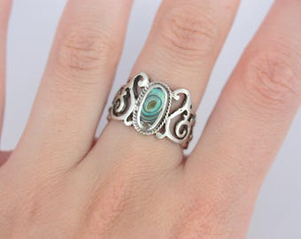 Vintage Silver Abalone Shell Ring, Silver Filigree Ring, Wide Front Ring, Silver Cuff Ring, Gothic Style Ring