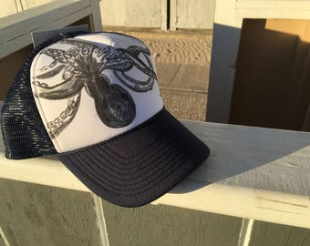 Sea inspired octopus trucker hat