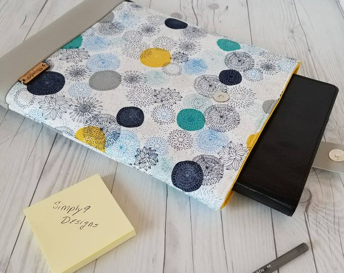 Featured listing image: Gray Teal Yellow Laptop Sleeve, Floral Laptop Case, Tablet Sleeve, Tablet Case, Macbook Sleeve, Macbook Case, 9, 10, 12, 13, 14, 15 inch