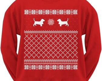 Basset Hound Adult Ugly Christmas Sweater Crew Neck Sweatshirt
