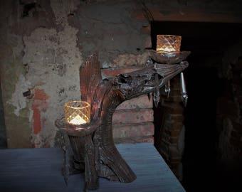 Porta candele in legno naturale