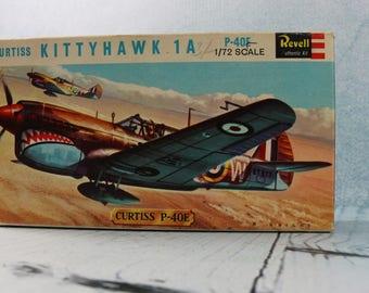 Curtiss KITTYHAWK 1A 1/72 unmade VINTAGE airfix plane model kit 1960s REVELL