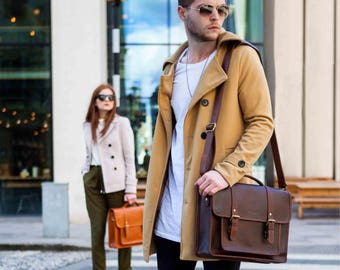 Leather Satchel messenger bag laptop briefcase iPad Messenger for men and women - Classic by Niche Lane Coffee 2016 Stock Sale