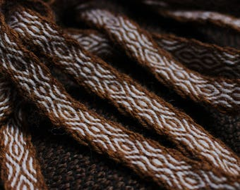 Brown and white colors tablet woven viking belt, handmade weave, costume accessory, woven band