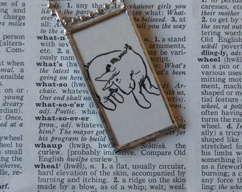 A.A. Milne Winne the Pooh - Eeyore - Soldered Glass 2-sided Pendant - upcycled illustrations - includes choice of necklace