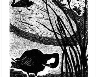 Late Afternoon, original print wood engraving