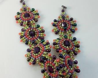 Seed Bead Bracelet (beadweaving - dark purple, golden yellow, matte orange with fire polished beads and small teardrop beads