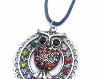 Owl gemstone necklace, circle pendant, bird jewellery, statement owl gift, cute accessory