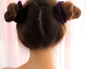 Small Silk Scrunchie, Purple Scrunchie, Amethyst Purple Scrunchies, Small Hair Ties, Mini Scrunchies, Space Buns Purple Small Scrunchies